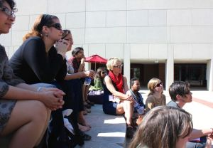 Lounging on the steps for an outdoor breakout group